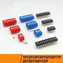 10 sztuk przełącznik dip typ przesuwny 2.54mm Pitch podwójny rząd PCB zamontowany SPST SMD przełącz 1 P/2 P/3 P/4 P/5 P/6 P/7 P/8 P/9 P/ 10 P/12 P CZY