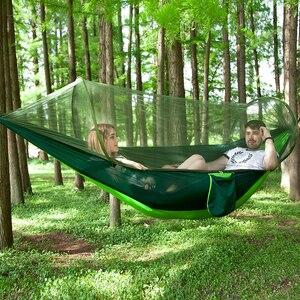 Image 5 - Pop Up Hamak kempingowy z moskitierą przenośny szybki zestaw wiszące łóżko 250x120cm Outdoor Hamak Hamac 98*47