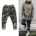 2017 мода high street мужская сторона молния камуфляжные штаны Хип-Хоп Мода army green бегунов штаны брюки Полная Длина