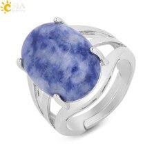 CSJA w kształcie jajka naturalne kamienne pierścienie dla kobiet regulowane otwarcie kolor srebrny przyjęcie rocznicowe Ring Finger owalne koraliki reiki F550