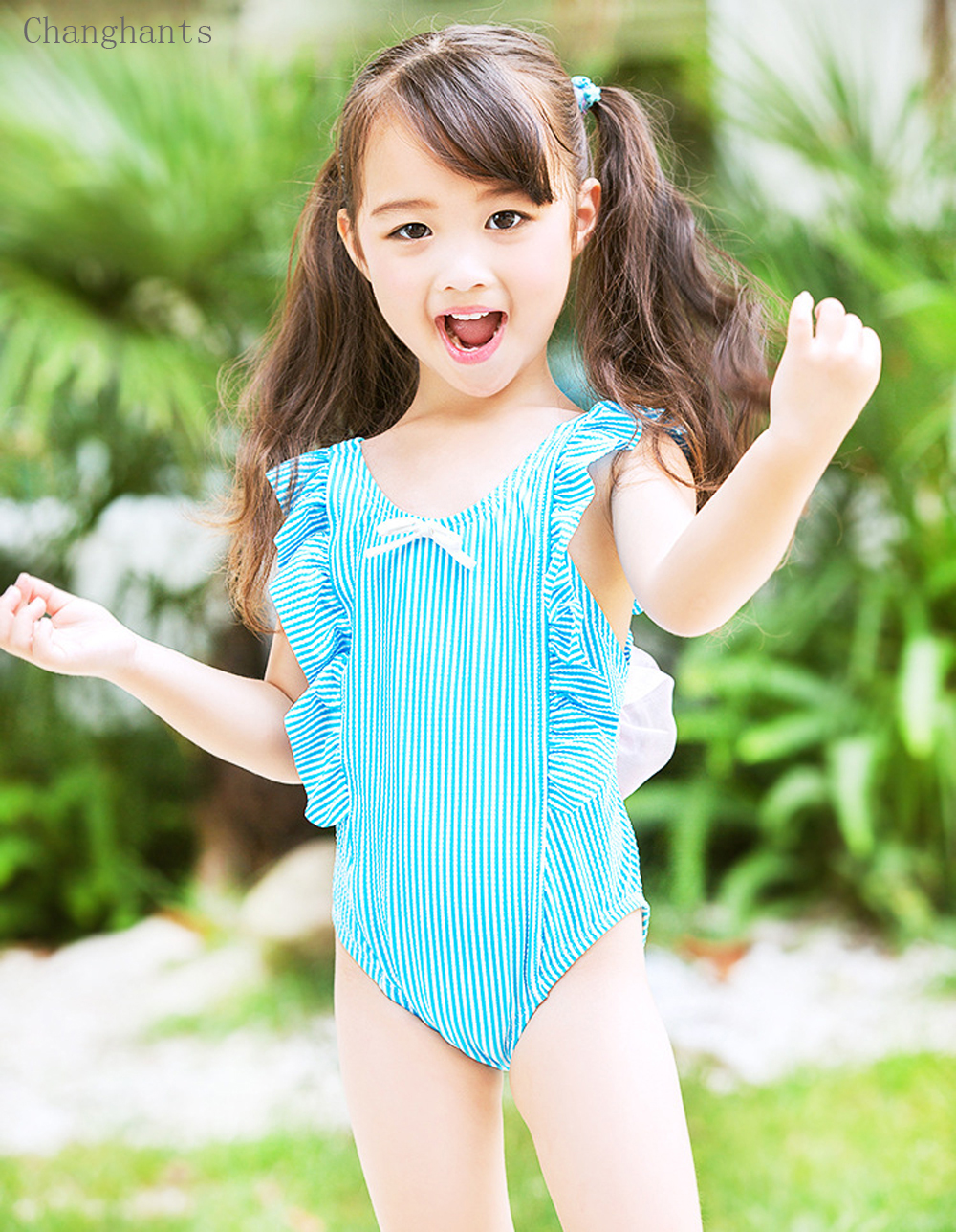 Nowe dziewczęce kostium kąpielowy w paski z falbankami Ramię i - Ubrania sportowe i akcesoria - Zdjęcie 5