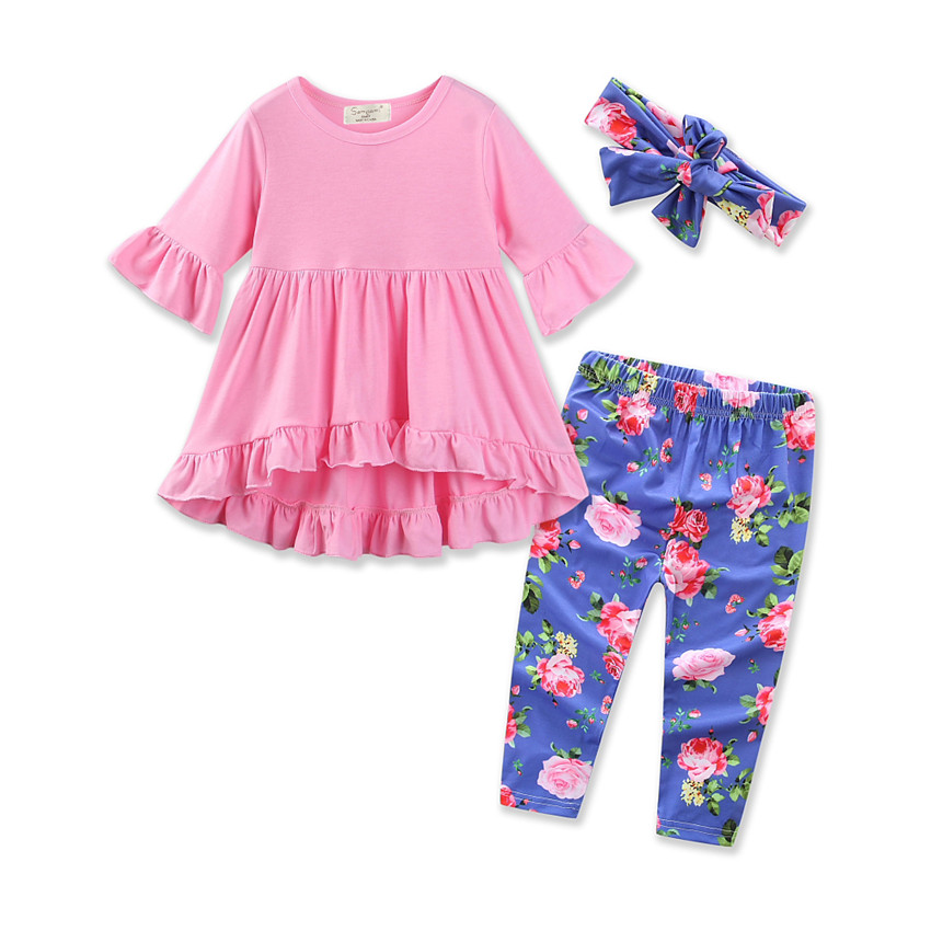2017 New Autumn 3pcs Cotton Infant Baby Girls Clothes Set Ruffle Tunic Top Shirt Floral Leggings Pants Hairband Outfits