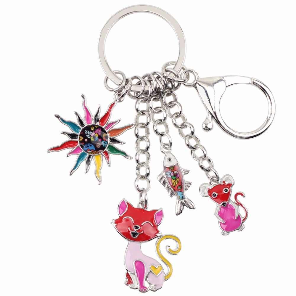 Bonsny эмалированный сплав детская сказка солнце кошка рыба мышь брелок для ключей кольцо уникальное ювелирное изделие для женщин девочек Подарочная сумка Подвески