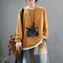 QPFJQD Mori Girl, милая 3D футболка с котами, с круглым вырезом, весна-осень, футболка с длинным рукавом, Хлопковые женские топы, футболка в стиле пэчворк