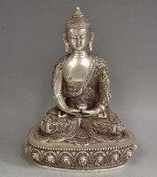 8,9 «Древний китайский тибетский серебряный Будда Шакьямуни & чаша статуя