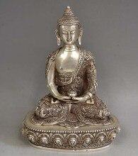 8.9 Tibet Tibetan Silver Bronze Buddha Shakyamuni &Bowl Statue