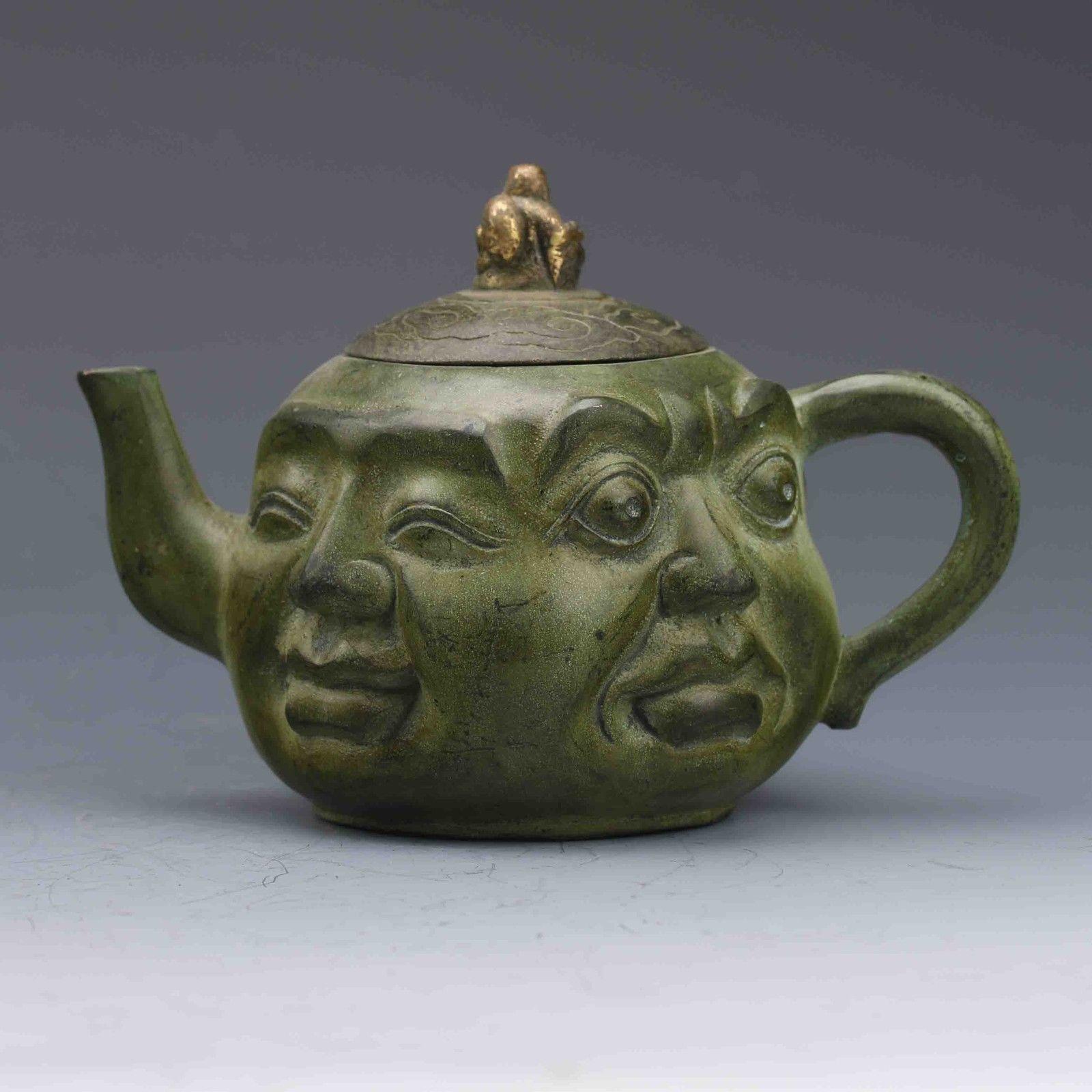 Chinese Bronze Gilt Hand Carved Erawan & Buddha Lid TeapotChinese Bronze Gilt Hand Carved Erawan & Buddha Lid Teapot