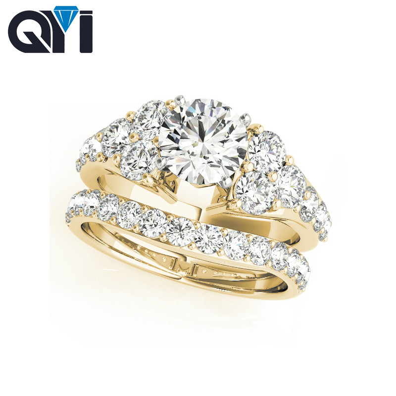 Qyi 14k Solid Yellow Gold Engagement Ring Sets 1ct Round Cut Simulated Diamond Bridal Jewelry Women Wedding Ring Rings Aliexpress