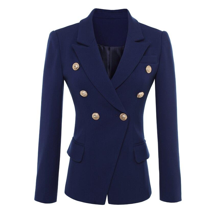 Высокое качество Новая мода 2018 дизайнер Blazer куртка Для женщин золотыми пуговицами двубортный Блейзер Верхняя одежда Размер S-XXL