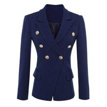 คุณภาพสูงใหม่แฟชั่น 2020 Designer เสื้อแจ็คเก็ต Blazer ผู้หญิง GOLD ปุ่ม Double Breasted Blazer Outerwear ขนาด S XXXL