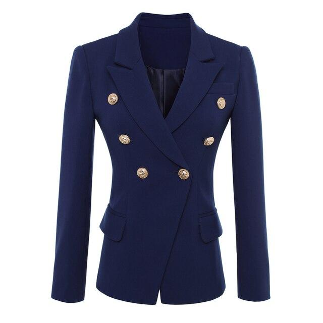 عالية الجودة موضة جديدة 2020 مصمم سترة المرأة أزرار الذهب مزدوجة الصدر السترة ملابس خارجية حجم S XXXL