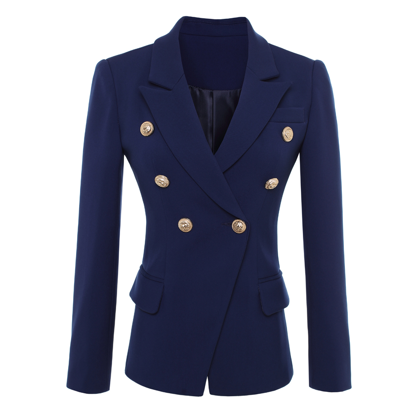 HIGH QUALITY New Fashion 2019 Designer Blazer Jacket Women's Gold Buttons Double Breasted Blazer Outerwear Size S-XXXL