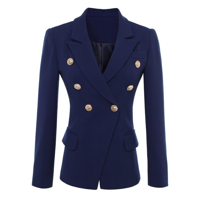 HIGH QUALITY New Fashion 2020 Designer Blazer Jacket Womens Gold Buttons Double Breasted Blazer Outerwear size S XXXL