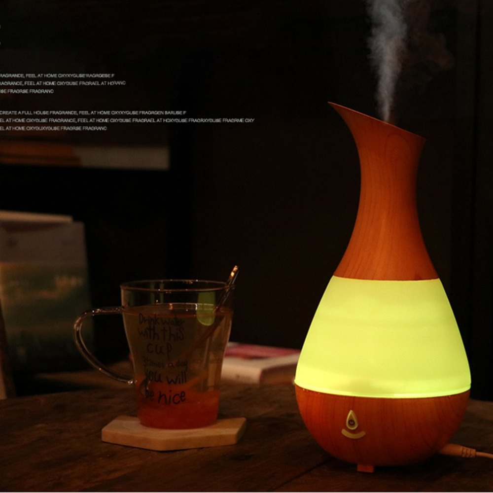 Waterdrop Leaf Shaped USB Charge Ultrasonic Air Purifier Aroma Diffuser Mist Humidifier Bluetooth Speaker LED Light Change