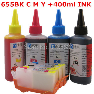 for HP 655 Refillable ink cartridge for HP Deskjet 3525/4615/4625/5525/6520/6525 for hp Dey ink bottle  4 color Universal 400ML 1pcs tri color remanufactured ink cartridge cc644ee for hp300xl hp300 deskjet d1660 d2500 2560 photosmart c4635 c4680 c4780 4688