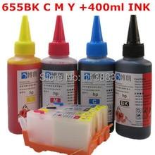 Für HP 655 Nachfüllbare tintenpatrone für HP Deskjet 3525/4615/4625/5525/6520/6525 für hp Dey tinte flasche 4 farbe Universal 400 ML