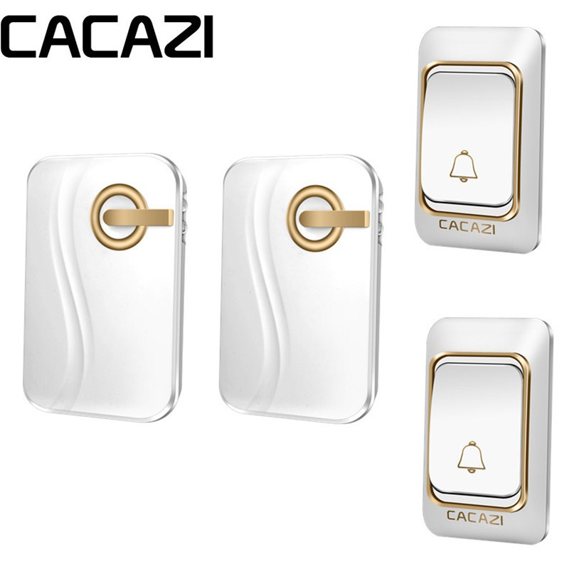 CACAZI Smart Wireless Waterproof Doorbell DC Battery Operated 2 Button 2 Receiver Home Cordless DoorBell 4 Volume 36 Chimes creepy comics volume 2 page 4