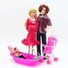цена на 5 people family doll toy set mom / dad / son baby / Kelly / pregnant doll and Cart Bathtub fashion toys gifts for girl