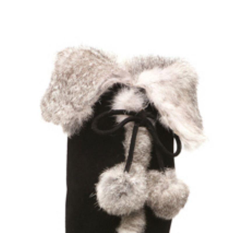 Moda Il 34 Ginocchio Calzature Stivali Vulusvalas In Di Alta Sopra Formato 40 Pelle Peluche Vera Tacco Donna Delle Pelliccia Nero Scarpe Donne qH66waS