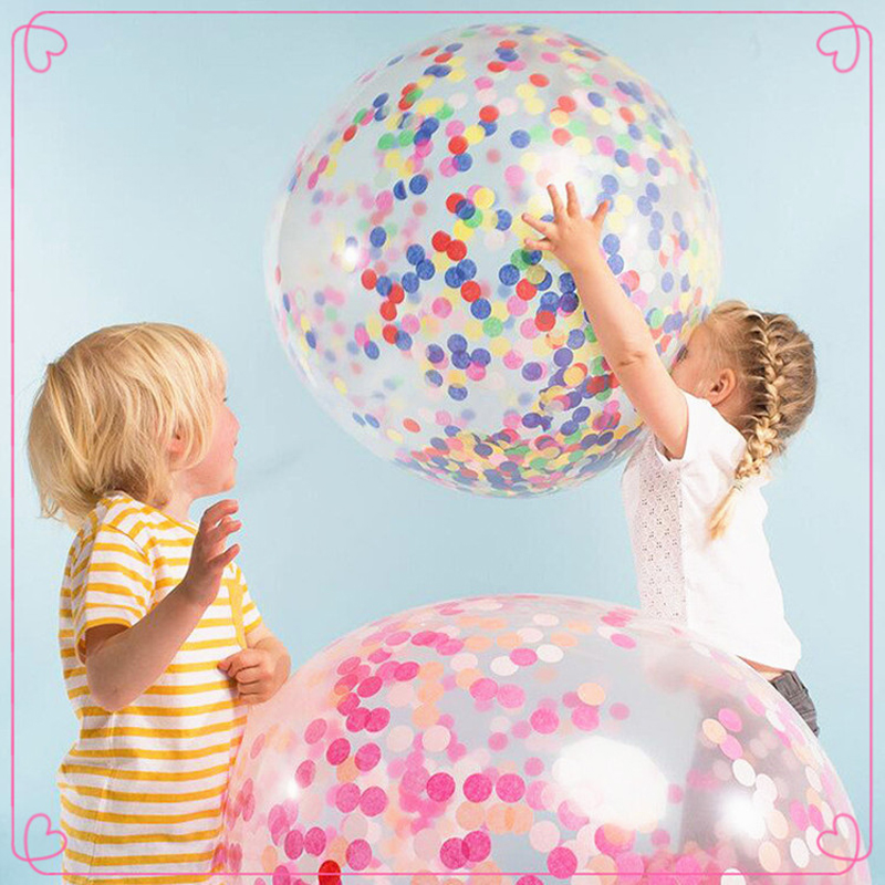 36 Inch Transparent Latex Balloon Plus Round Scraps Of Colorful Paper For Room Decorative Wedding Accessories Kids Toys