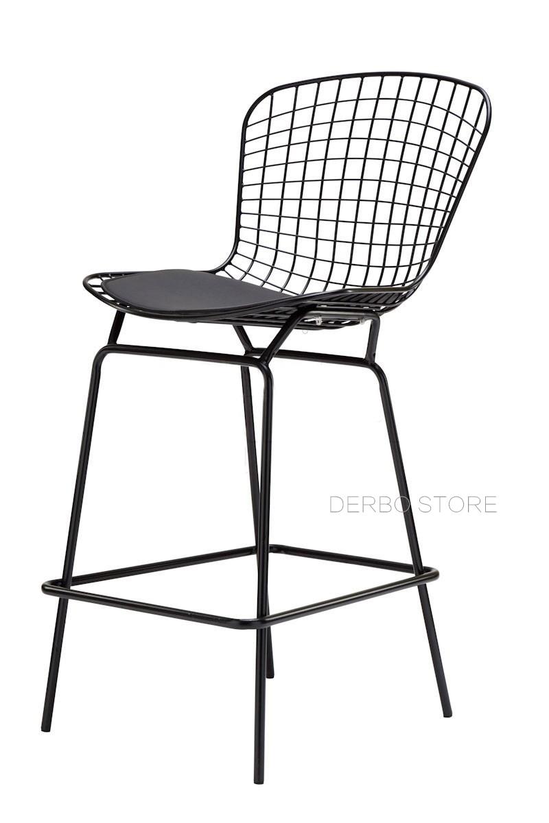 Us 168 0 Por Modern Design 70cm Seat Height Chromed Black White Bertoia Bar Stool Chair Loft Metal Steel Wire Counter 1pc In