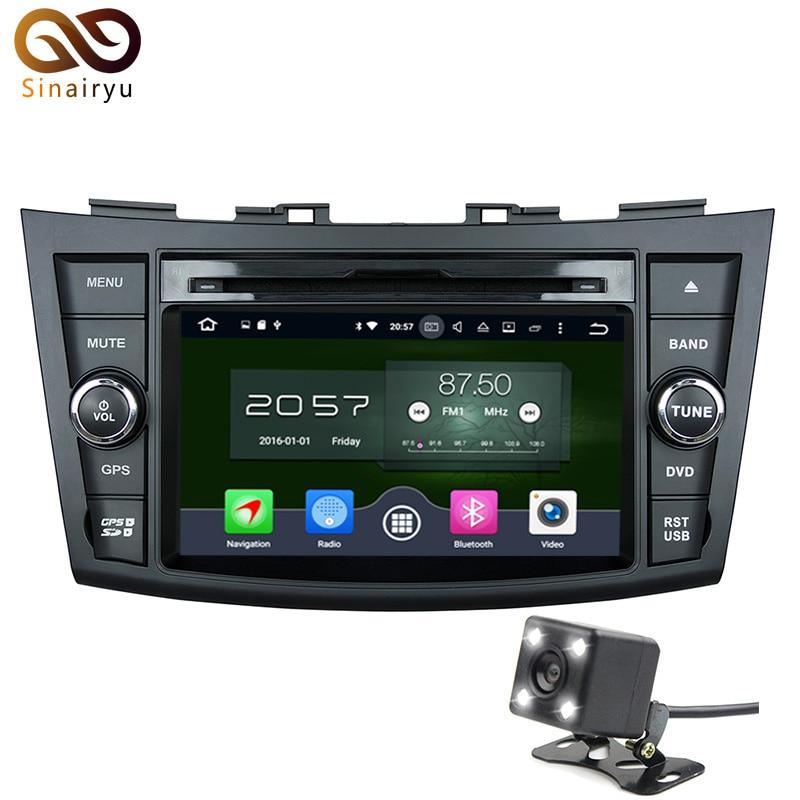 Sinairyu 7Steering-Wheel 2Din Car DVD Player Android 6.0 For Suzuki Swift Multimedia Navigation HD Screen Bluetooth 4G+32G ROM