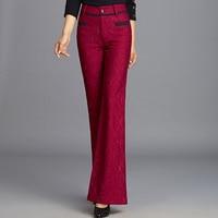 Brand New Lace Patchwork Flare Pants Slim Fashion Autumn Women Wide Leg Pants High Quality Plus