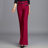Brand New Lace Patchwork Flare Pants Slim Fashion Autumn Women Wide Leg Pants High Quality Plus Size Elegant Trousers MK0021