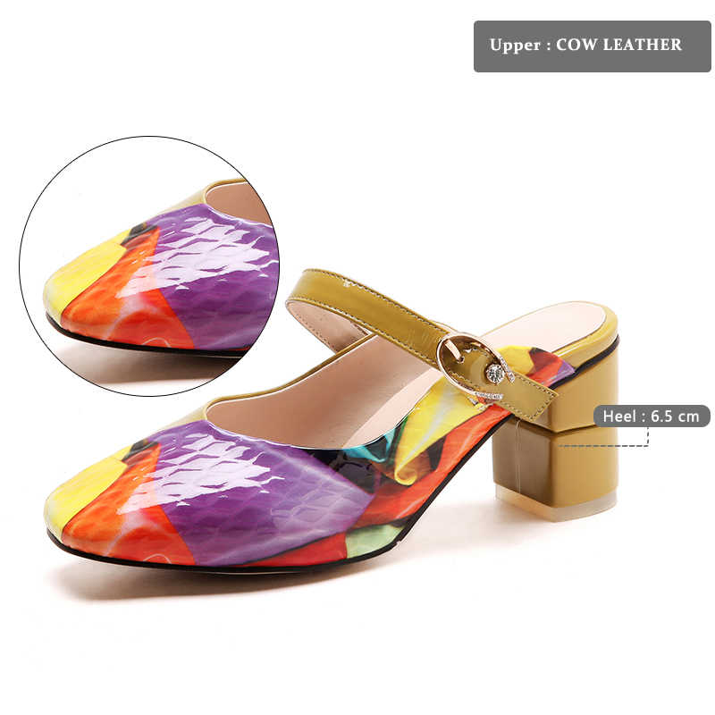 WETKISS 2018 Mulheres Da Moda Chinelos de Verão Senhoras Sapatos Mulas Lâminas De Couro Genuíno sapatos de Salto Alto Calçados Decoração Estampas de Matal