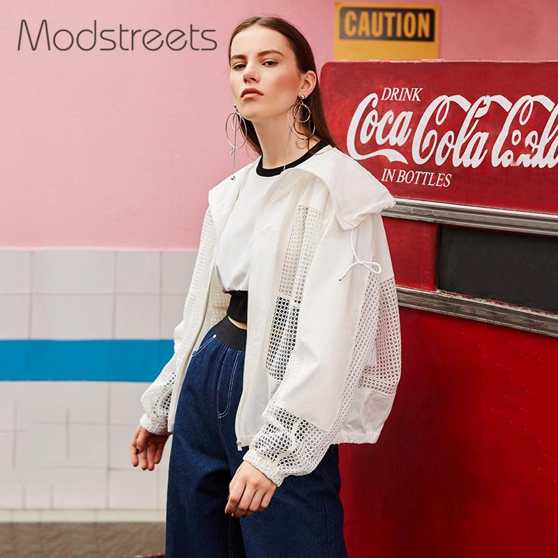 Modstreets Hollow Out Women Basic Jacket Solid White Drawstring Transparent Zipper Casual Thin Slim Autumn Coat Bomber Jacket