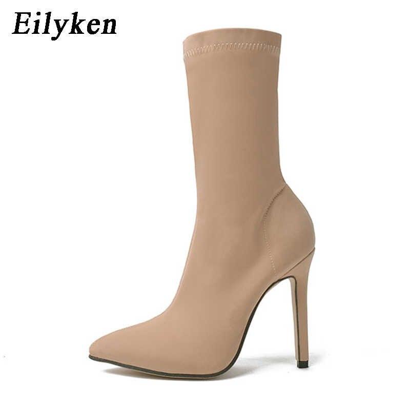 Eilyken 2020 Tessuto Elasticizzato Mid-Vitello Delle Donne Stivali Moda Punta a punta A Spillo Tacchi Alti Sexy Stivali Invernali Formato 35 -40