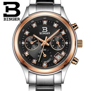 Image 5 - Relojes de pulsera Suiza Binger de lujo de cuarzo a prueba de agua reloj completo de acero inoxidable cronógrafo relojes de pulsera BG6019 W3