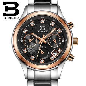 Image 5 - Switzerland Binger womens watches luxury quartz waterproof clock full stainless steel Chronograph Wristwatches BG6019 W3