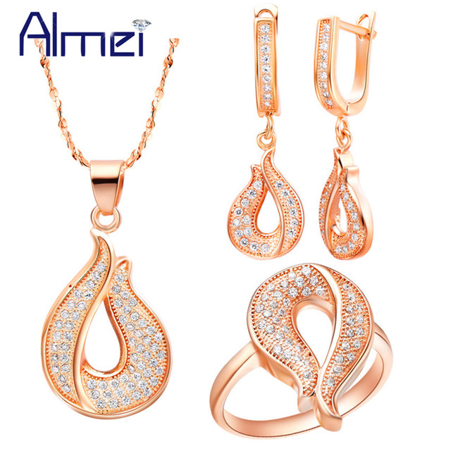 6225c54fbf39 Almei Dubai Rose Gold Color Crystal Jewelry Ladies Jewellery Sets for Women  Wedding Bridal Ring Long Earring Neacklace Set T110