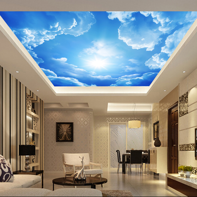 Living room bedroom ceiling blue sky and white clouds for Cloud mural ceiling
