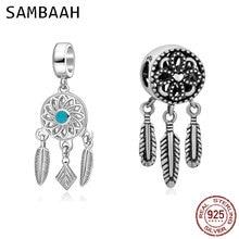 Sambaah Spiritual Dreamcatcher Droppe Charm Pendant 925 Sterling Silver Dream Catcher Beads for Original Pandora Style Bracelet цена