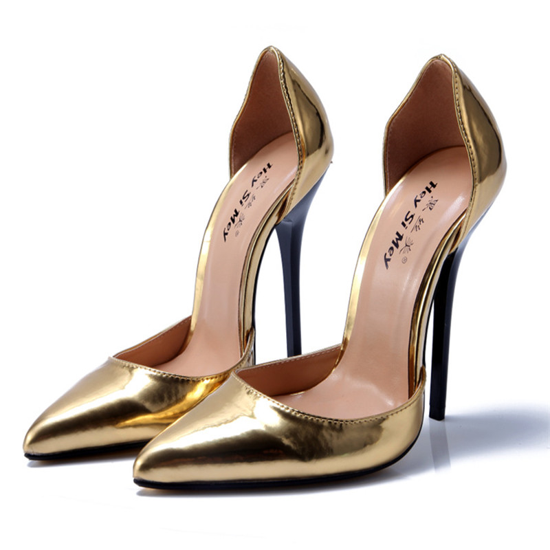 NoEnName Null font b Women b font Pumps Patent Leather Stiletto Gold Fetish High Heel Sexy