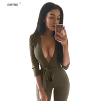 Women Jumpsuits 2016 New Autumn Winter 4 Color Deep V Neck Suede Belt Sexy Club