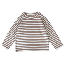 boys tops Single-sleeved T-shirt with striped Korean 100-tie stitching sleeve underneath