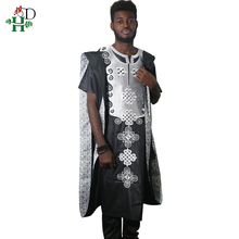 H&D africa men dashiki 2019 new bazin riche suits tops shirt pant 3 pieces set embroidery black white african mens clothing robe