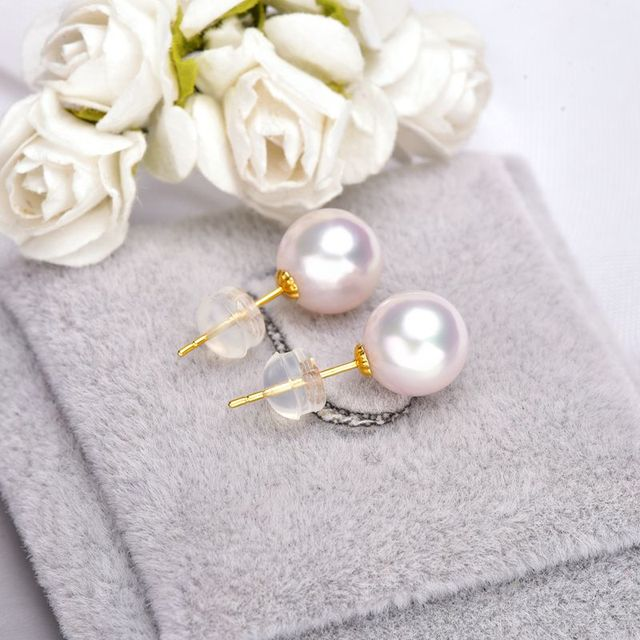 Gold Stud Earrings with 6-9 mm White Japanese Pearl 4