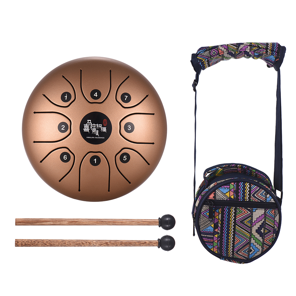 5.5 Inch Mini 8-Tone Steel Tongue Drum C Key Percussion Instrument Hand Pan Drum with Drum Mallets Carry Bag5.5 Inch Mini 8-Tone Steel Tongue Drum C Key Percussion Instrument Hand Pan Drum with Drum Mallets Carry Bag