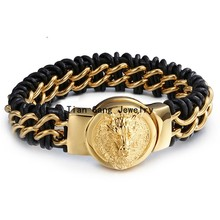 Fashion New Punk Jewelry Men Genuine Leather Bracelet Bangle Black Leather 316L Stainless Steel Gold Clasp