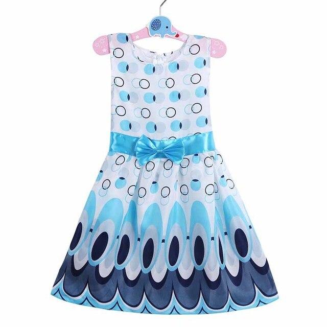c74222bf3 Vestidos de bebé para niñas Rapunzel ropa Elsa verano Pavo Real impresión  chica trajes lol fiesta princesa traje