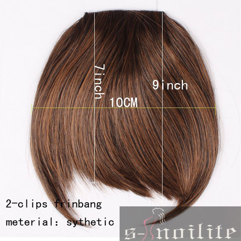S Noilite Short Front Neat Bangs Clip In Bang Fringe Hair Extensions