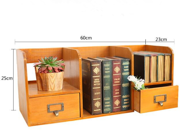 1 PC Zakka épicerie en bois tiroir armoire bureau livre organisateur décoration de la maison en bois boîte de rangement NM 009 - 6