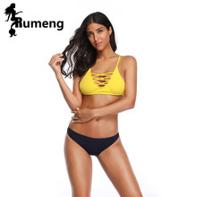RUMENG Push Up Bikini 2018 Cross bandage Women Swimwear Swimsuit Halter Top yellow and black Maillot Biquini Bathing Suits