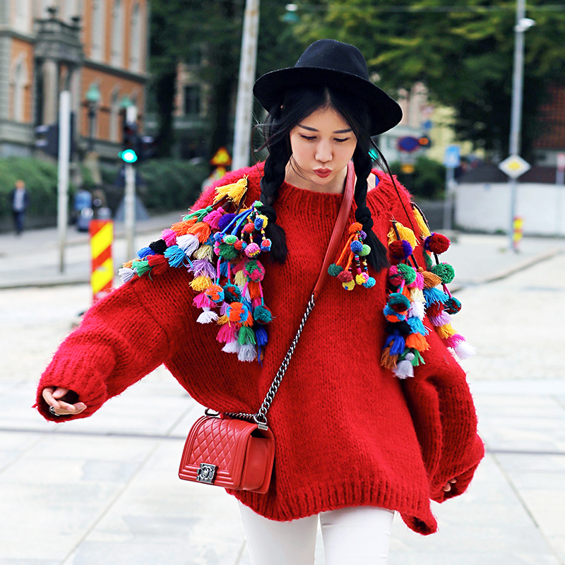 MX] Autumn Winter Women Novelty Personality Ultra Loose Batwing Sleeve Tassel Hand Knitted Oversized Mohair Sweater Red