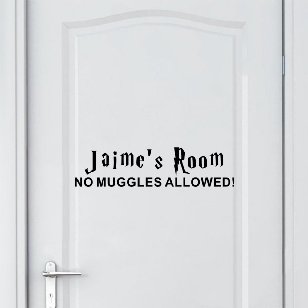 Personalised Any Name Bedroom Door Vinyl Wall Sticker Sign No Muggles Allowed