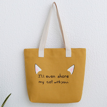 Casual Beach Woman Canvas Bag Women Shoulder Bag Female HandBags High Quality Bags For Women Cute Cat Tote Bags Bolsa Feminina все цены